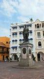 Monument till Pedro de Heredia i Plaza de los Coches i den historiska mitten av Cartagena Royaltyfria Foton