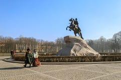Monument till Peter det stort (bronsskickliga ryttaren) Royaltyfri Fotografi