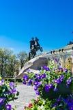 Monument till Peter det stort i St Petersburg Royaltyfria Bilder