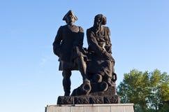 Monument till Peter I och Nikita Demidov Nevyansk Ryssland Arkivfoto