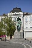Monument till poeten France Preseren, Ljubljana 4 Arkivbild
