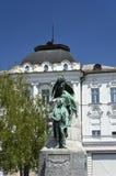 Monument till poeten France Preseren, Ljubljana Royaltyfria Bilder