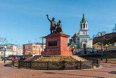 Monument till Pozharsky och Minin i Nizhny Novgorod Arkivbilder