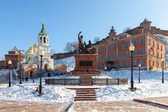 Monument till Pozharsky och Minin i Nizhny Novgorod Royaltyfria Bilder