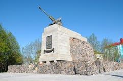 Monument till soldaterna av de 6th artilleriregementena för batteri 14 Arkivfoto