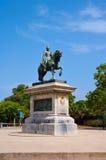 Monument till spansk general och statsmannen Juan Prim. Barcelona. Arkivbilder