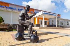 Monument till strongmanen Prokofiy Ryabov Panino Ryssland Royaltyfria Bilder