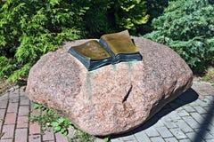 Monument till Thomas Mann. Svetlogorsk (till Rauschen 1946), Kaliningrad oblast, Ryssland arkivfoto