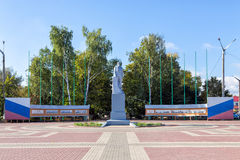 Monument till Vladimir Lenin i den stads- byn Anna, Ryssland Royaltyfri Fotografi