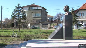 A monument to Academician Likhachev in the Bulgarian capital stock video footage