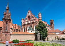 A monument to Adam Mickiewicz, Catholic church of St. Anne's.  Vilnius, Lithuania Royalty Free Stock Photos