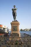 At the monument to Admiral Ivan Fedorovich Kruzenshtern in St. Petersburg. SAINT PETERSBURG, RUSSIA - JULY 27, 2014: At the monument to Admiral Ivan Fedorovich Stock Photos