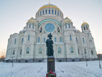 Monument to the admiral Ushakov before the Sea cathedral in Kronstadt Royalty Free Stock Photos