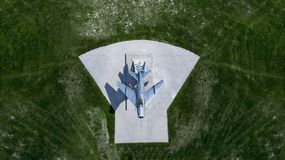 Monument to the aircraft top view from the drone royalty free stock images