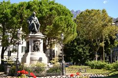 Monument to Alessandro Manzoni, famous Italian writer, in the city centre. Stock Image