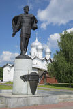 The monument to Alexander Nevsky in the background of Boris and Gleb Church. Veliky Novgorod Stock Images