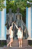 Monument to Alexander Pushkin and N  Goncharova on Old Arbat  sculptors AN Burganov, IA Burganov, architects EG Rozanov, EK Noise Royalty Free Stock Image