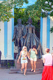 Monument to Alexander Pushkin and N  Goncharova on Old Arbat  sculptors AN Burganov, IA Burganov, architects EG Rozanov, EK Noise Royalty Free Stock Images