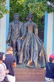 Monument to Alexander Pushkin and N  Goncharova on Old Arbat  sculptors AN Burganov, IA Burganov, Moscow Royalty Free Stock Images