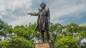 Monument to Alexander Pushkin timelapse hyperlapse on Ploshchad Iskusstv Arts Square in St.-Petersburg, Russia stock footage