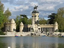 Monument to Alfonso XII in the Buen Retiro Park, one of the largest parks of Madrid city, Spain. Monument to Alfonso XII in the Buen Retiro Park, one of the stock photo