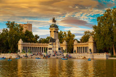 Monument to Alfonso XII in the Parque de Buen Retiro in Madird Stock Photography
