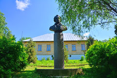 Monument to Andrey Bolotov in Dvoryaninovo. Monument to Andrey Bolotov and main house in Dvoryaninovo estate in the village in Zaoksky district in Tula region Stock Images