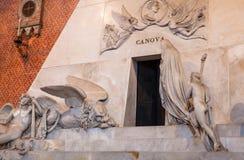 Monument to Antonio Canova in Basilica Frari. VENICE, ITALY - MARCH 30, 2017: Monument to Antonio Canova in Basilica di santa maria gloriosa dei frari The Frari stock image