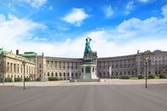 Monument to the Archduke Charles of Austria against the backdrop of the National Library in Vienna, Austria Royalty Free Stock Photography