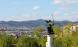 The monument to the Archer on the background of mountains Royalty Free Stock Photos