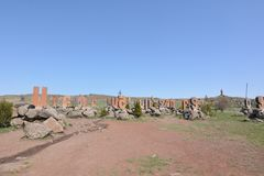 Monument to the Armenian alphabet near Yerevan in Armenia. In spring day Stock Photos