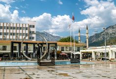 Monument to Ataturk in square in Kemer, Turkey stock images