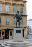 Monument to the Austrian playwright, comic actor, Opera singer Johann Nestroy. Stock Image