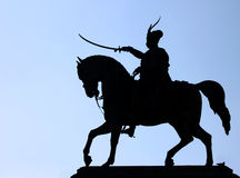 Monument to Ban Jelacic, silhouette Royalty Free Stock Images
