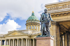 Monument to Barclay de Tolly on the background of the Kazan Cath Royalty Free Stock Photo