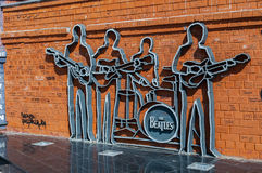 The monument to the Beatles in Ekaterinburg, Russia - closeup view royalty free stock photos