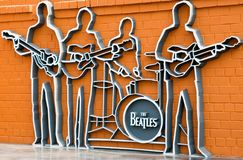 The monument to the Beatles, Ykaterinburg, Russia. Monument Group «The Beatles» in Yekaterinburg, established May 23, 2009, is the first monument dedicated to Stock Photography