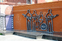 The monument to the Beatles, Ykaterinburg, Russia. Monument Group The Beatles in Yekaterinburg, established May 23, 2009, is the first monument dedicated to the Stock Photography