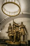 Monument to Belarusian partisans at Belorusskaya metro station in Moscow, Russia. royalty free stock photos