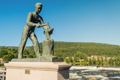 A monument to a blacksmith in Kongsberg City. Kongsberg, Norway July 20, 2016: a monument to a blacksmith in Kongsberg City Stock Photos