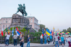 Monument to Bogdan Khmelnitsky and flags of countries, which Eur. Ovision participants on the Sophia Square in the Kyiv, in Ukraine. 07.05.2017. Editorial Royalty Free Stock Photo