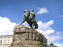 A monument to Bogdan Khmelnitsky on horseback. Kiev, Ukraine stock images