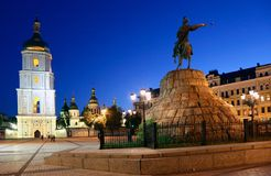 A monument to Bogdan Khmelnitsky riding a horse on the Sophia Square at night. interesting place of kiev. For your design Royalty Free Stock Images
