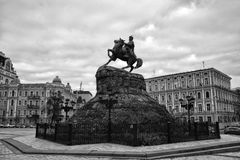 A monument to Bogdan Khmelnitsky on the Sophia Square in Kiev, Ukraine. Walk around the city Royalty Free Stock Image