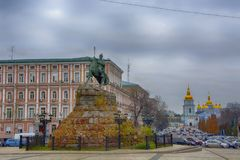 A monument to Bogdan Khmelnitsky on the Sophia Square in Kiev, Ukraine. Walk around the city Royalty Free Stock Images