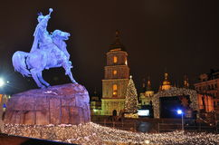 Monument to Bohdan Khmelnitsky in Kiev, Christmas lights and illuminations, main square royalty free stock photos