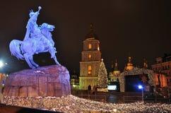 Monument to Bohdan Khmelnitsky in Kiev, Christmas lights and illuminations, main square Royalty Free Stock Photos