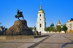 The monument to Bohdan Khmelnitsky and St. Sophia Royalty Free Stock Photos