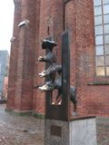 Monument to the Bremen Town Musicians in Riga, Latvia royalty free stock photo