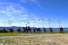 Monument to the Camino de Santiago. In the Sierra del Perdon, Spain Royalty Free Stock Images